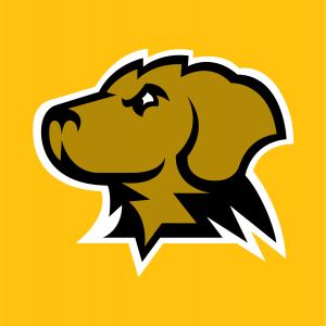 UMBC retriever head in color for use on gold