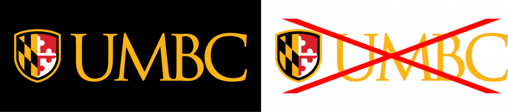 Example of proper use for the UMBC primary logo gold