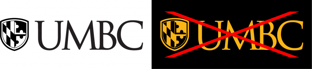 Example of proper use for the UMBC primary logo single color black