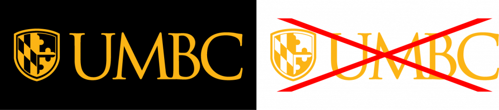 Example of proper use for the UMBC primary logo single color gold