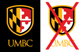 Example of proper use for the UMBC gold vertical logo