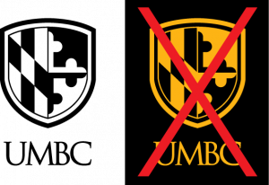 Example of proper use for the UMBC single color black vertical logo