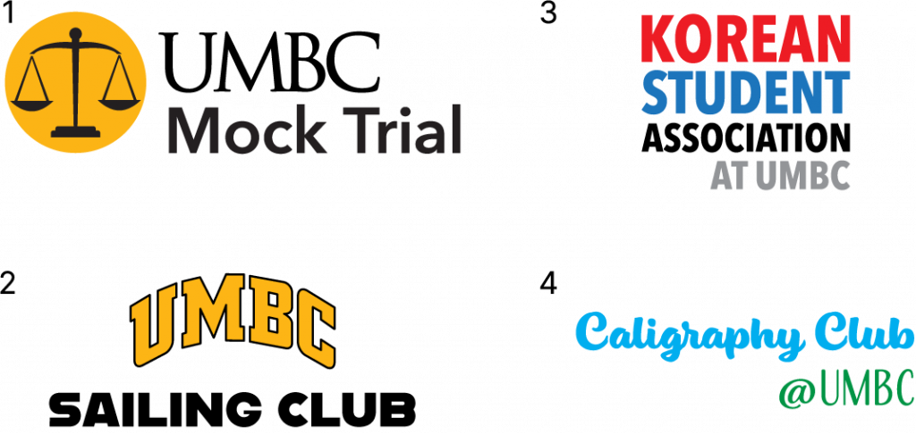 Student Club and Org wordmark examples